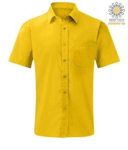 Herren Kurzarmhemd aus Polyester und Baumwolle Gelb