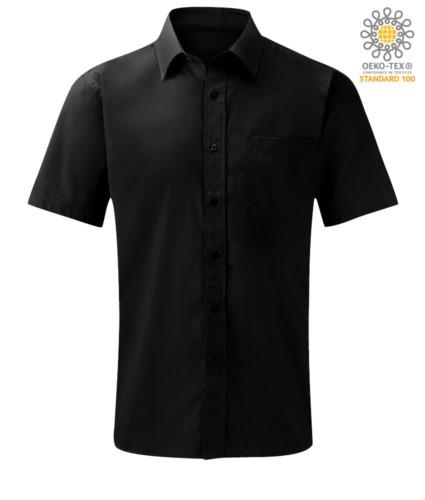 Herren Kurzarmhemd aus Polyester und Baumwolle Schwarz