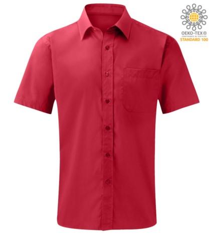 Herren Kurzarmhemd aus Polyester und Baumwolle Rot