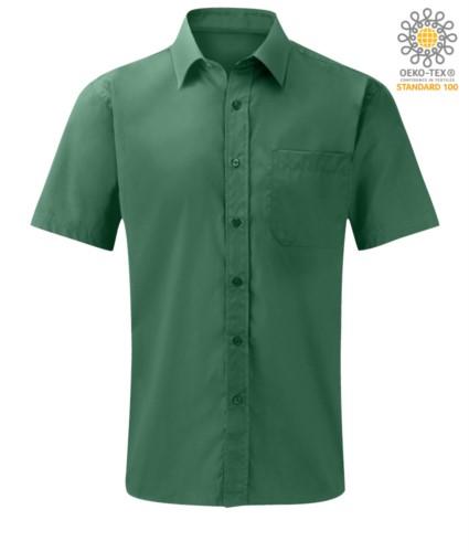 Herren Kurzarmhemd aus Polyester und Baumwolle Gruen