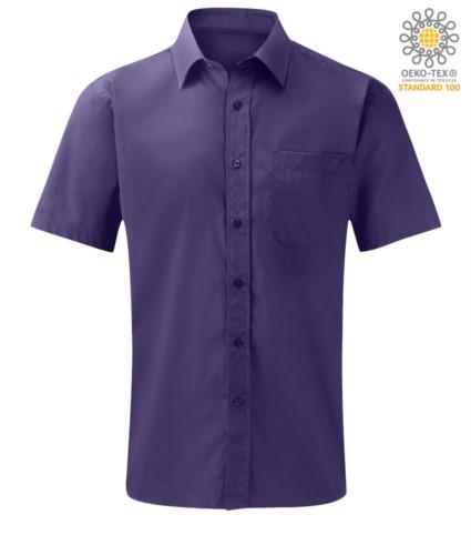 Herren Kurzarmhemd aus Polyester und Baumwolle Lila