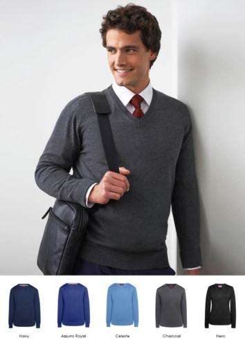 Herren V-Ausschnitt Pullover, lange Aermel, gerippter Hals und Aermelbuendchen, Baumwolle und Acrylgewebe