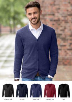 Herren V-Ausschnitt Strickjacke, klassisches Schnittmodell, gerippter Hals und Aermelbuendchen, zentrale Oeffnung, Baumwolle und Acrylgewebe