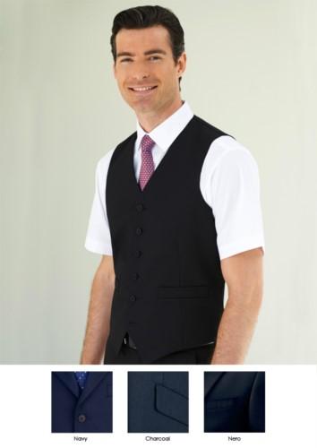 Elegante Uniformweste aus Polyester und Viskose, erhältlich in den Farben Navy, Charcoal, Black. Ideal fuer Portier-, Hotel- und Rezeptionistenuniformen.