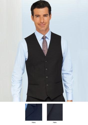 Weste aus 100% superfeinem Polyestergewebe, erhältlich in den Farben Navy und Black. Ideal fuer Portier-, Hotel- und Rezeptionistenuniformen.