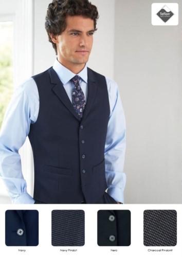 Elegante Uniformweste mit 5-Knopf-Verschluss. Polyester-, Viskose- und Elastangewebe. Nur fuer den Grosshandel. Fordern Sie ein kostenloses Angebot an.