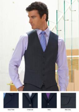 Elegante Uniformweste aus Polyester und Wolle, erhaeltlich in den Farben Navy, Black, Charcoal, Mid Greyo. Ideal für Portier-, Hotel- und Rezeptionistenuniformen.