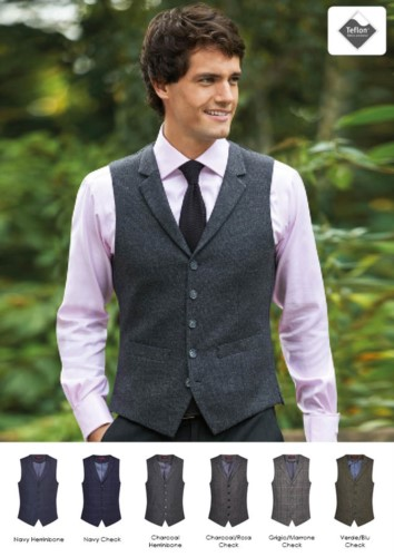 Elegante Uniformweste aus Wolle und Polyester mit Teflonbesatz. Ideal für Portier-, Hotel- und Rezeptionistenuniformen.