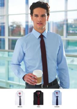 Elegantes Hemd fuer Berufsbekleidung, Baumwolle und Polyester. Stoff mit charakteristischem leichtem Eisen.