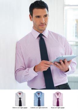 Elegantes Hemd mit zweifarbigen Streifen, Polyester und Baumwollstoff, mit leichten Buegeleigenschaften. Grosshandel. Fordern Sie ein kostenloses Angebot an