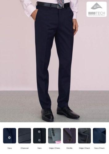 Elegante, schmal geschnittene Herrenhose, zwei Leistentaschen, Wolle, Polyester und Lycra Gewebe mit schmutzabweisender Ausruestung. Fordern Sie ein kostenloses Angebot an.