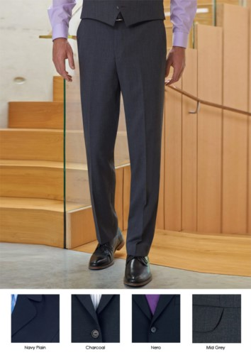 Elegant men trousers in polyester and viscose fabric, charcoal grey colour. Ideal for receptionist, hotel and porter uniforms.