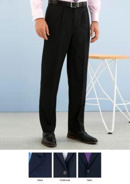 Elegante Herrenhose, klassischer Schnitt, zwei Leistentaschen, aus Polyestergewebe und Wolle, Anti Faltgewebe. Kontaktieren Sie uns fuer ein kostenloses Angebot.