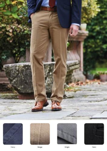 Elegante Herrenhose mit klassischem Schnitt, Seitentaschen, Baumwollstoff und Elastan. Fordern Sie ein kostenloses Angebot an.
