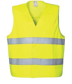 Warnweste mit doppeltem Reflexband zur Taille, Verschluss mit Veltre, zertifiziert nach EN 20471. Farbe Gelb