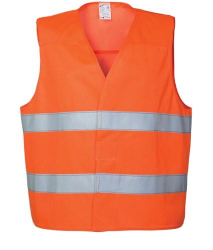 Warnweste mit doppeltem Reflexband zur Taille, Verschluss mit Veltre, zertifiziert nach EN 20471. Farbe orange