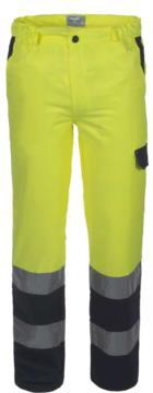 Zweifarbige Warnschutzhose mit Doppelband an der Unterseite des Beines, zertifiziert nach EN 20471, Farbe gelb/blau