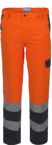 Zweifarbige Warnschutzhose mit Doppelband an der Unterseite des Beines, zertifiziert nach EN 20471, Farbe orange/blau