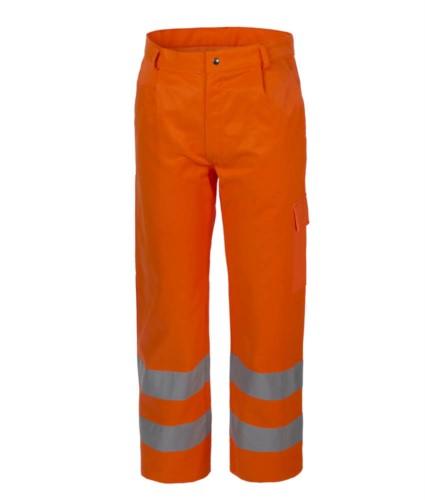 Warnschutzhose, Multi-Pocket, doppelt reflektierendes Band an der Unterseite des Beines, zertifiziert nach EN 20471, Farbe orange