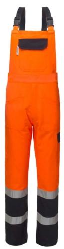 Zweifarbige, gut sichtbare Laetzchen, mit zentraler Tasche am Laetzchen, verstellbare Schultergurte, Doppelband an der Unterseite des Beines, zertifiziert nach EN 20471, Farbe orange und blau