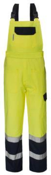 Zweifarbige, gut sichtbare Laetzchen, mit zentraler Tasche am Laetzchen, verstellbare Schultergurte, Doppelband an der Unterseite des Beines, zertifiziert nach EN 20471, Farbe gelb und blau
