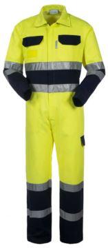 Hemdkragen, zwei Brusttaschen, doppelt reflektierendes Band an den Aermeln, Taille und unterem Aermel, Farbe gelb/blau, zertifiziert nach EN 20471