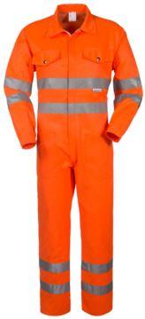 Hemdkragen, zwei Brusttaschen, doppelt reflektierendes Band an den Aermeln, Taille und unterem Aermel, Farbe orange, zertifiziert nach EN 20471