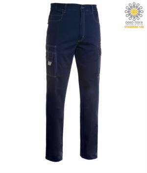 Arbeitshose mit mehreren Taschen, Multiseason, zweifarbig. Farbe marineblau/koenigsblau