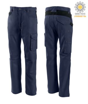 Zweifarbige Hose mit mehreren Taschen aus Baumwolle, Farbe blau/schwaz