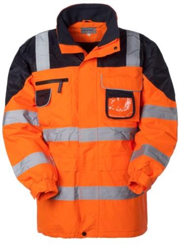 Warnweste, Reissverschluss und verdeckter Knopfverschluss, Badgehalter, verdeckte Kapuze, Doppelband an den Aermeln, Taille, vertikal und hinten, zertifiziert nach EN 343, EN 20471. Farbe Orange