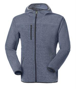 Kapuzen Fleece mit langem Reissverschluss aus Strickfleece mit einer Brusttasche und zwei Seitentaschen. Farbe: hellblau