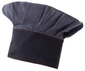 Kochmuetze, doppeltes Stoffband, Oberteil eingesetzt und in Falten genaeht, Farbe grau blau