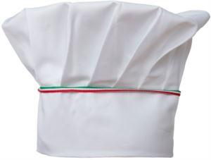 Kochmuetze, doppeltes Stoffband mit eingesetztem und eingenaehtem Oberteil in Falten, Farbe weiss dreifarbig