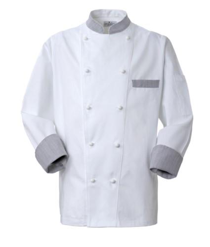 Kochjacke, Frontverschluss mit zweireihigen Knoepfen, linke Seitentasche, 3/4 langer Aermel, Farbe weisser Galle
