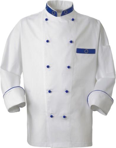 Kochjacke, Frontverschluss mit zweireihigen Knoepfen, linke Seitentasche, Dreiviertelaermel, Farbe weiss