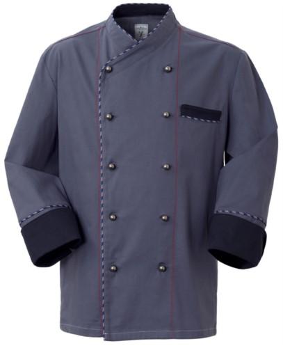 Kochjacke, Frontverschluss mit zweireihigen Knoepfen, linke Seitentasche, dreiviertellanger Aermel, Farbe grau
