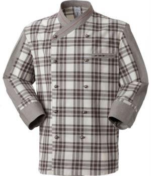 Kochjacke, zweireihiger Knopfverschluss vorne, linke Seitentasche, Dreiviertelaermel, Farbe karierter brauner