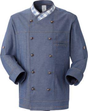 Kochjacke, zweireihiger Knopfverschluss vorne, linke Seitentasche, Dreiviertelarm, Farbe denim