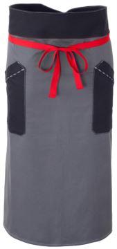 Kochschuerze, Frontverschluss an der Taille mit rotem Band, zwei Fronttaschen, Farbe graublaue