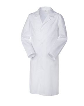 Medizinischer Herrenmantel, Knopfverschluss, offener Kragen, zwei Taschen und eine kleine Tasche, Rueckenschlitz, Fadenheftung, Farbe weiss