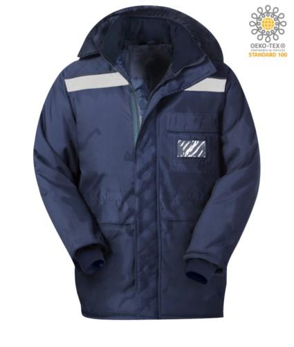 KuehlhausJacke, doppelter verso Reissverschluss, lange und schmale Manschetten, reflektierende Bandjacke, Brusttasche, Farbe blau. CE-zertifiziert, EN 342:2004