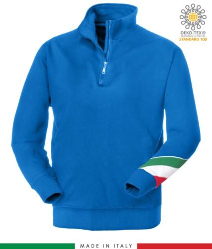 Arbeits Sweatshirt mit kurzem Reissverschluss hergestellt in Italien Grosshandel Koenigsblau Farbe Italienische Flagge