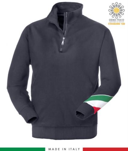 Arbeits Sweatshirt mit kurzem Reissverschluss hergestellt in Italien Grosshandel blaue Farbe Italienische Flagge