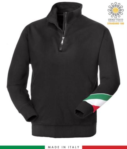 Arbeits Sweatshirt mit kurzem Reissverschluss hergestellt in Italien Grosshandel Schwarz Farbe Italienische Flagge