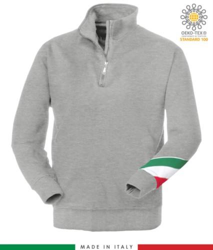 Arbeits Sweatshirt mit kurzem Reissverschluss hergestellt in Italien Grosshandel Melange Grau Farbe Italienische Flagge