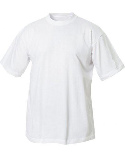 T-Shirt, gerippter Kragen mit Elastan, Farbe weiss