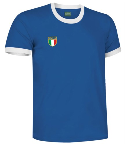 T-Shirt mit Kragen und Unterarm im Kontrast, dreifarbiger Aermel im Unterarm