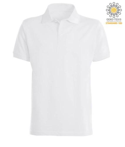 Kurzaermeliges Poloshirt mit gerippten Baumwollarmunterteilen. Farbe Weiss