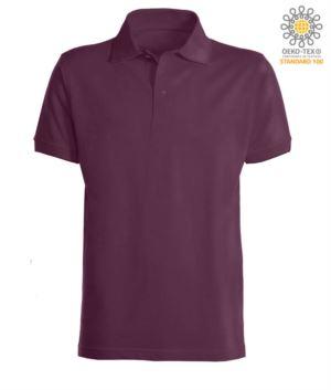 Kurzaermeliges Poloshirt mit gerippten Baumwollarmunterteilen. Farbe Burgunderrot