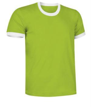 Kurzaermeliges, ringgesponnenes T-Shirt aus Baumwolle mit kontrastfarbenen Rundhals- und aermelunterteilen, Farbe gruen und weiss